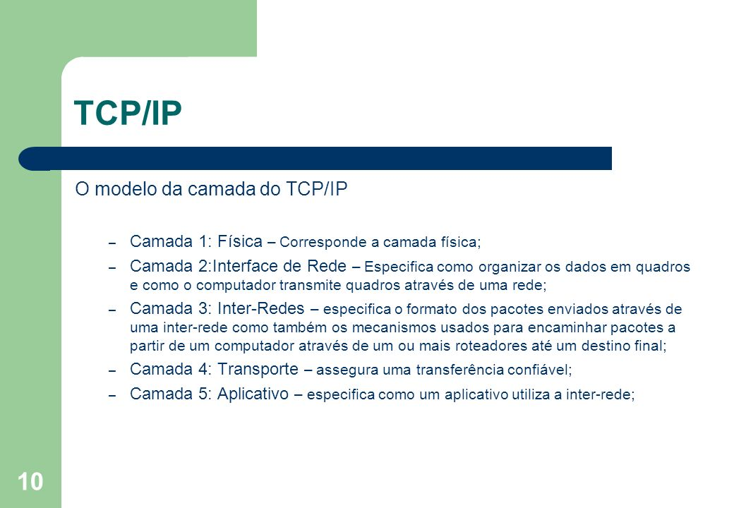 10 TCP/IP O modelo da camada do TCP/IP – Camada 1: Física – Corresponde a camada física; – Camada 2:Interface de Rede – Especifica como organizar os d
