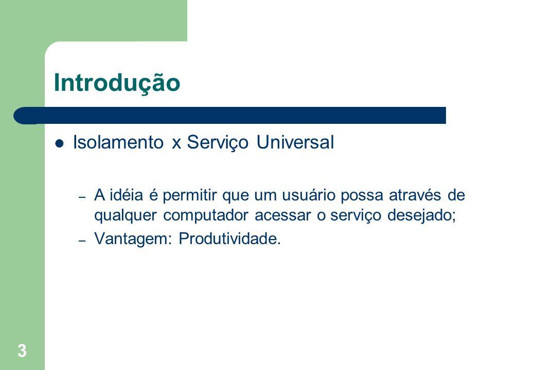 3 Introdução Isolamento x Serviço Universal – A idéia é permitir que um usuário possa através de qualquer computador acessar o serviço desejado; – Van