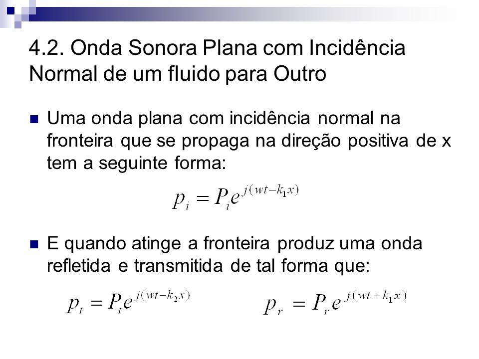 4.2. Onda Sonora Plana com Incidência Normal de um fluido para Outro Uma onda plana com incidência normal na fronteira que se propaga na direção posit
