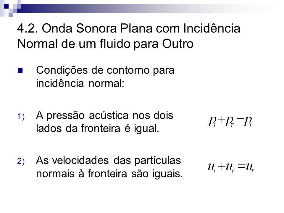 4.2. Onda Sonora Plana com Incidência Normal de um fluido para Outro Condições de contorno para incidência normal: 1) A pressão acústica nos dois lado