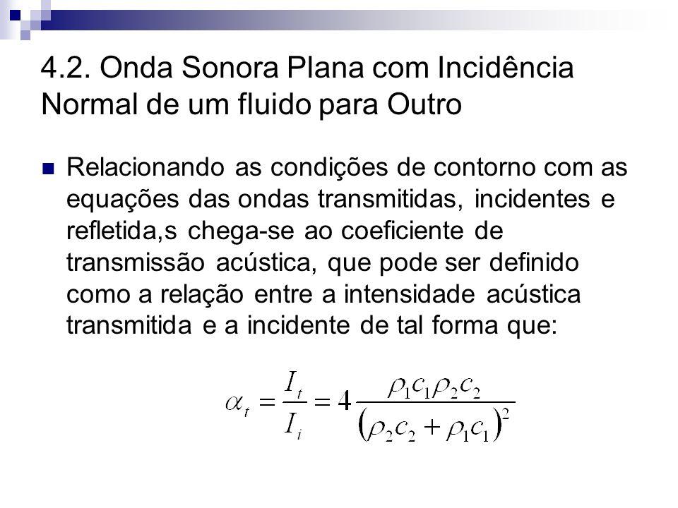 4.2. Onda Sonora Plana com Incidência Normal de um fluido para Outro Relacionando as condições de contorno com as equações das ondas transmitidas, inc