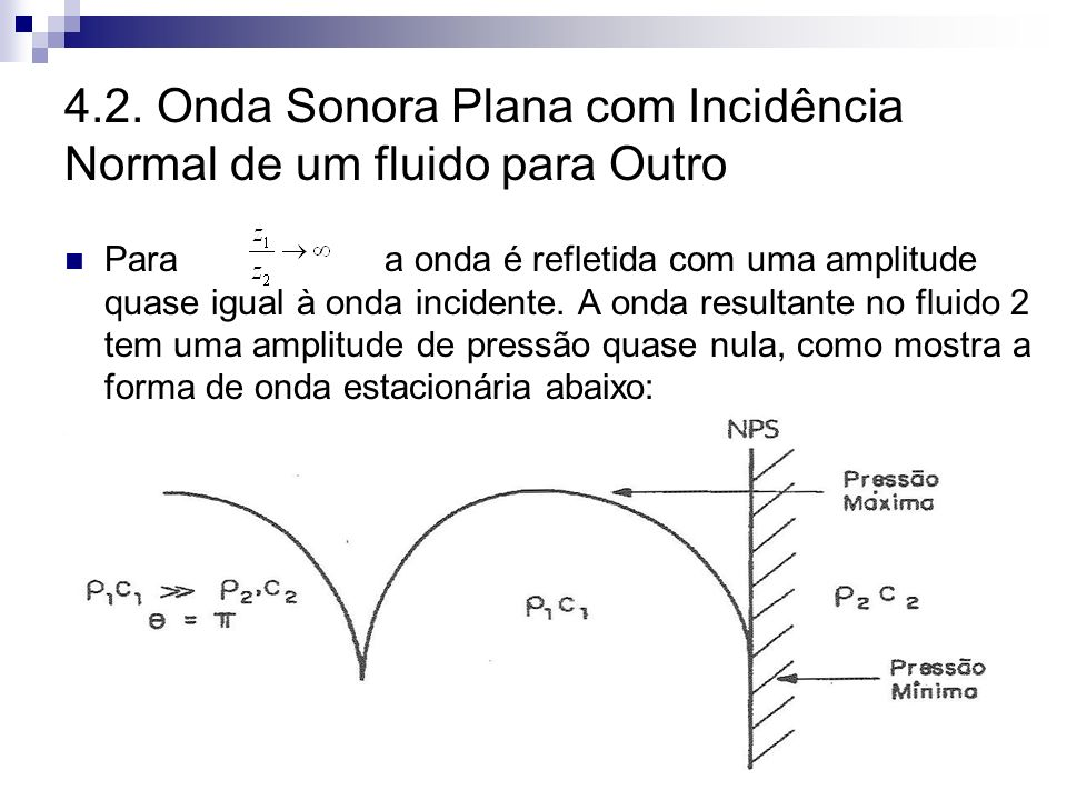 4.2. Onda Sonora Plana com Incidência Normal de um fluido para Outro Para a onda é refletida com uma amplitude quase igual à onda incidente. A onda re