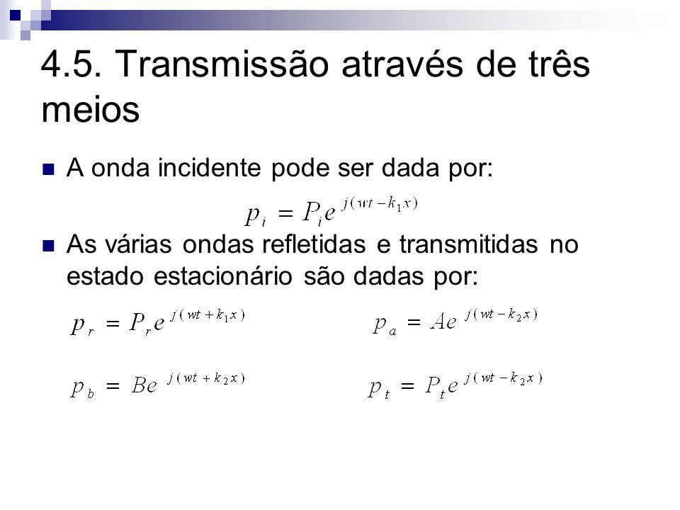 4.5. Transmissão através de três meios A onda incidente pode ser dada por: As várias ondas refletidas e transmitidas no estado estacionário são dadas