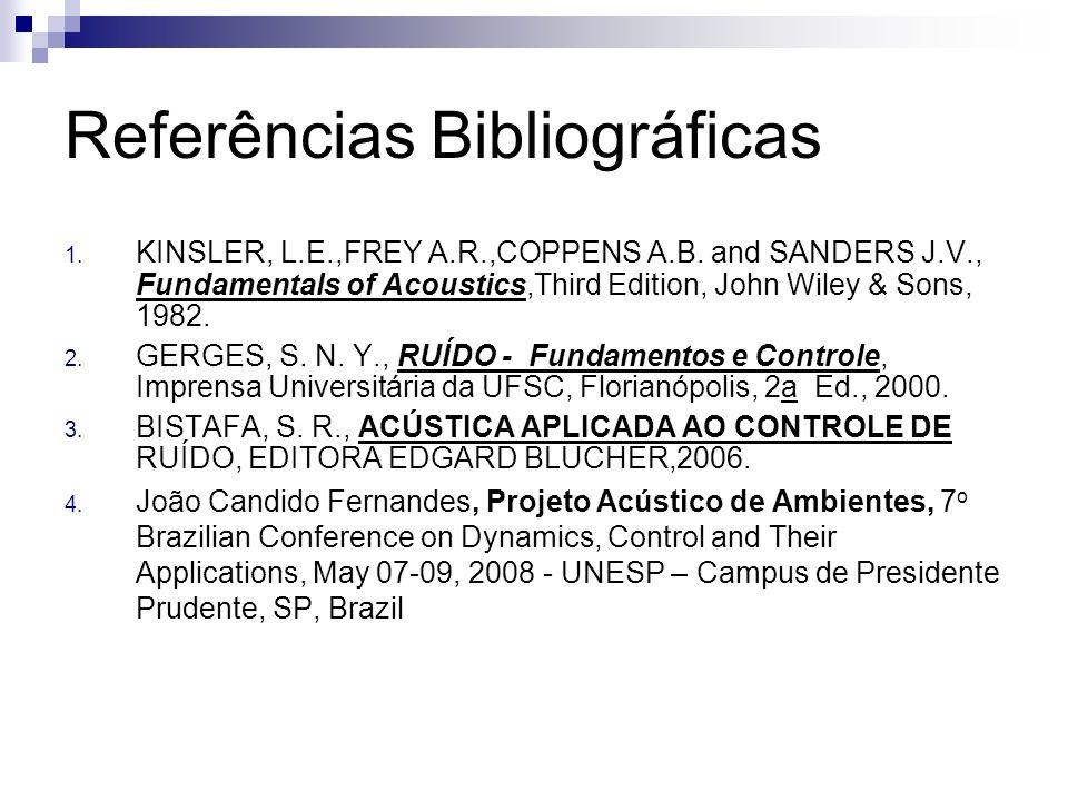Referências Bibliográficas 1. KINSLER, L.E.,FREY A.R.,COPPENS A.B. and SANDERS J.V., Fundamentals of Acoustics,Third Edition, John Wiley & Sons, 1982.