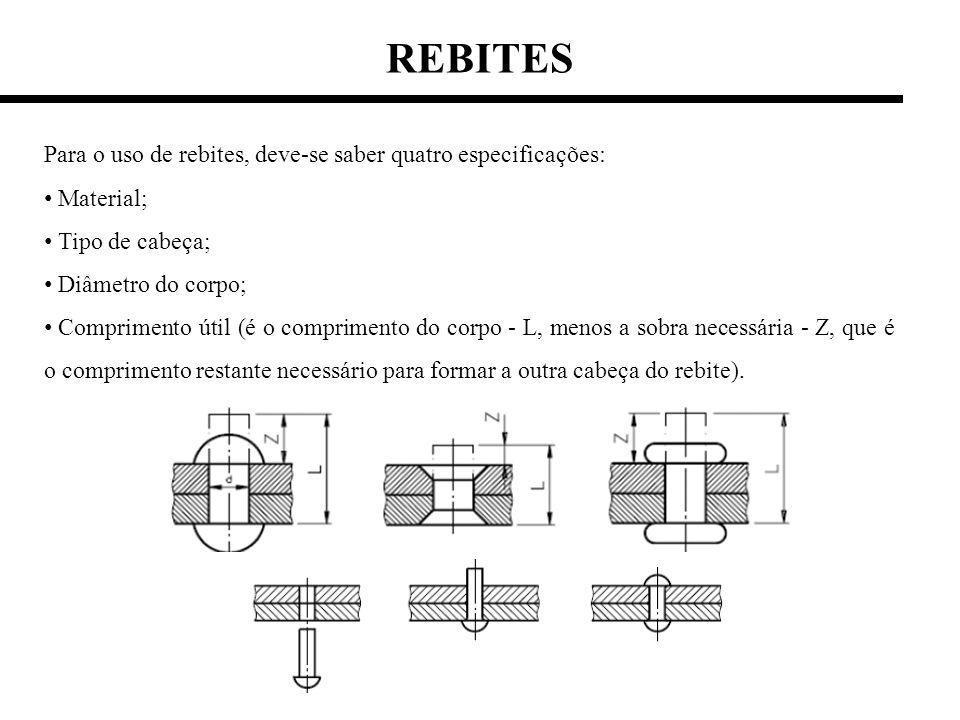 Para o uso de rebites, deve-se saber quatro especificações: Material; Tipo de cabeça; Diâmetro do corpo; Comprimento útil (é o comprimento do corpo -