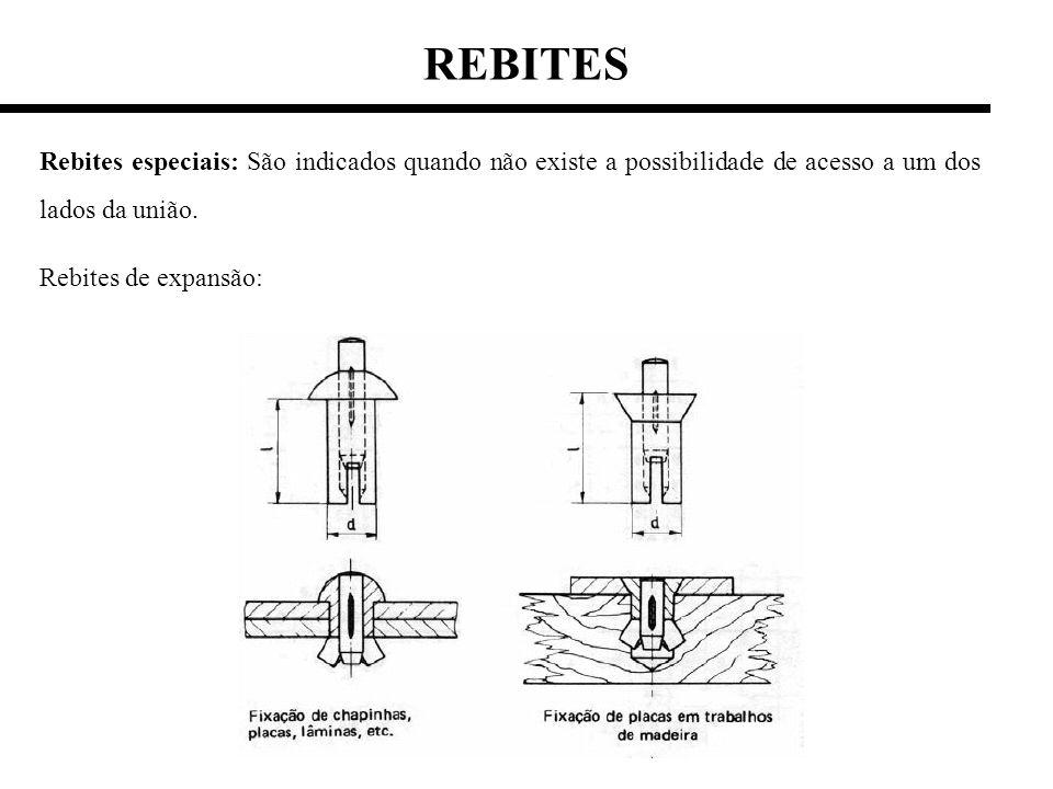 REBITES Rebites especiais: São indicados quando não existe a possibilidade de acesso a um dos lados da união. Rebites de expansão: