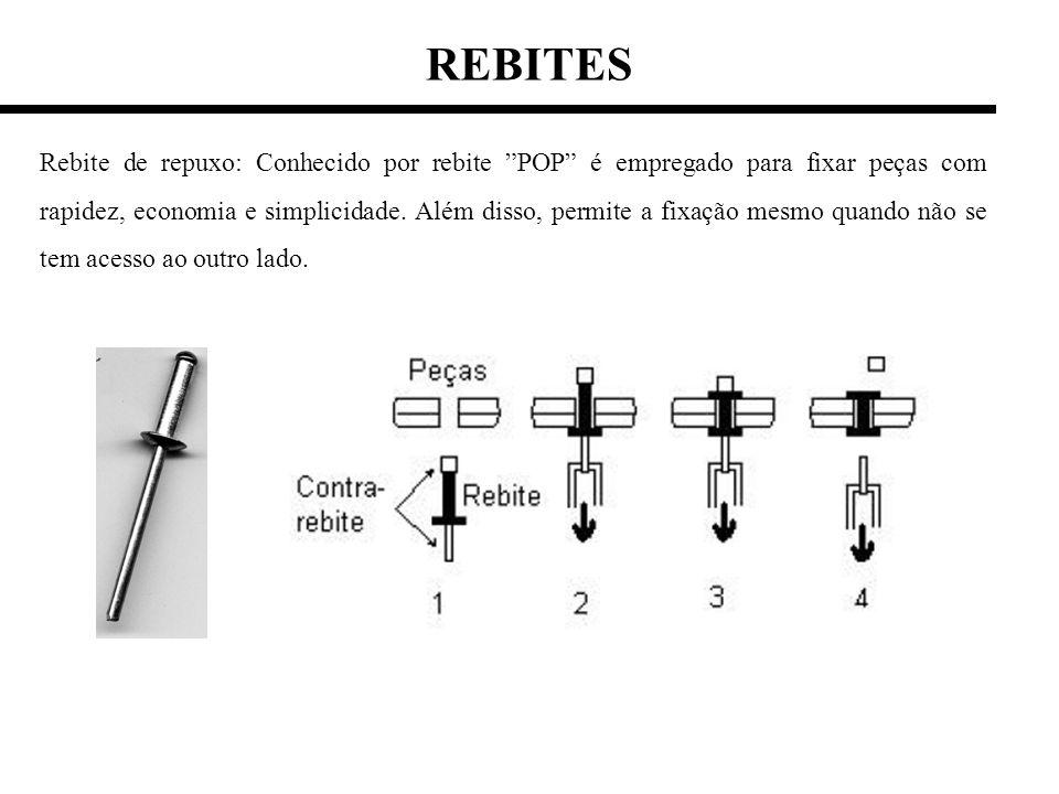 REBITES Rebite de repuxo: Conhecido por rebite POP é empregado para fixar peças com rapidez, economia e simplicidade. Além disso, permite a fixação me