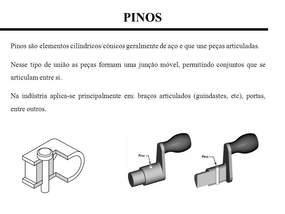 PINOS Pinos são elementos cilíndricos/cônicos geralmente de aço e que une peças articuladas. Nesse tipo de união as peças formam uma junção móvel, per