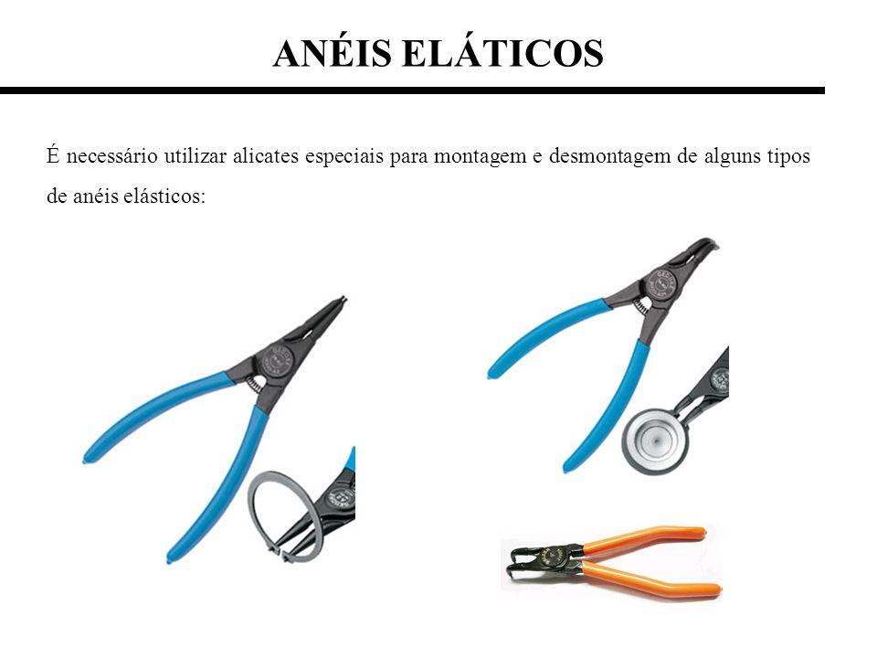 ANÉIS ELÁTICOS É necessário utilizar alicates especiais para montagem e desmontagem de alguns tipos de anéis elásticos: