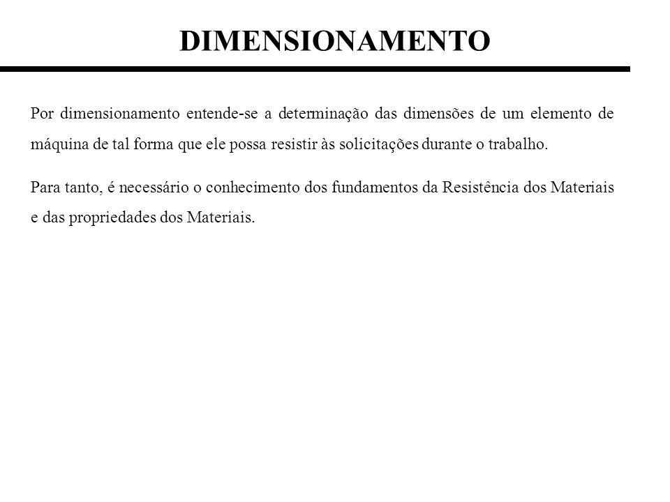 DIMENSIONAMENTO Por dimensionamento entende-se a determinação das dimensões de um elemento de máquina de tal forma que ele possa resistir às solicitaç