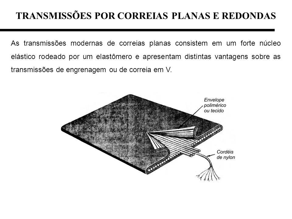 TRANSMISSÕES POR CORREIAS PLANAS E REDONDAS As transmissões modernas de correias planas consistem em um forte núcleo elástico rodeado por um elastômer