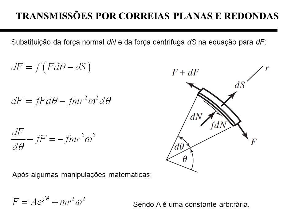 TRANSMISSÕES POR CORREIAS PLANAS E REDONDAS Substituição da força normal dN e da força centrifuga dS na equação para dF: Sendo A é uma constante arbit