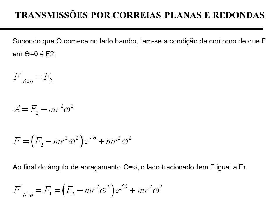 TRANSMISSÕES POR CORREIAS PLANAS E REDONDAS Supondo que comece no lado bambo, tem-se a condição de contorno de que F em =0 é F2: Ao final do ângulo de