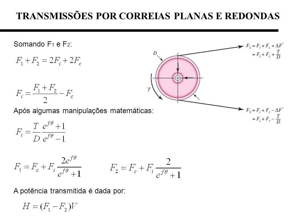 TRANSMISSÕES POR CORREIAS PLANAS E REDONDAS Somando F 1 e F 2 : Após algumas manipulações matemáticas: A potência transmitida é dada por: