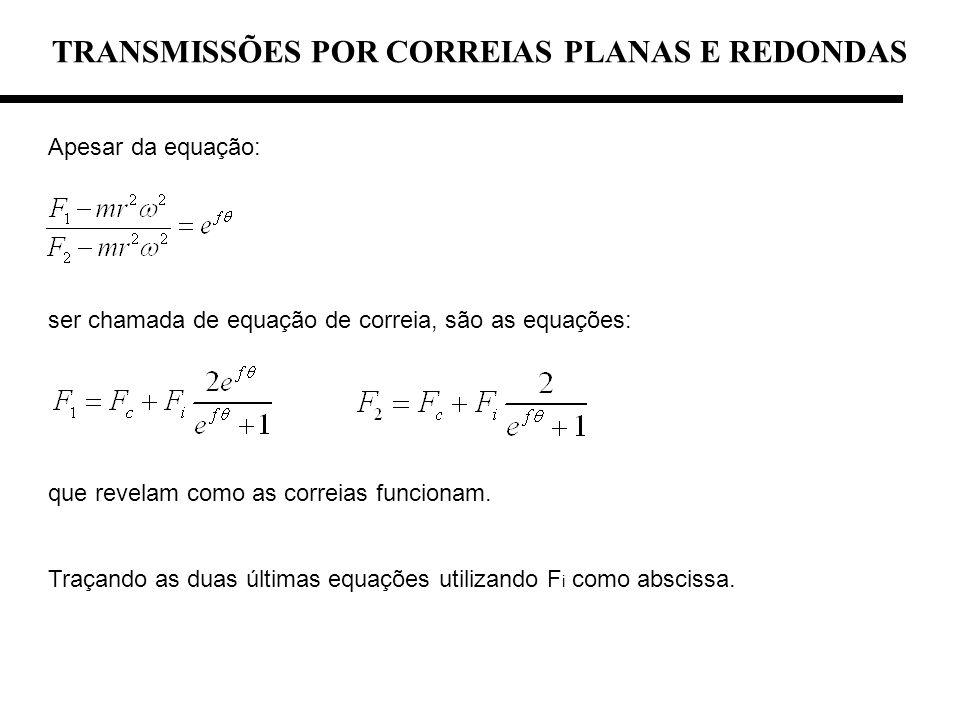 TRANSMISSÕES POR CORREIAS PLANAS E REDONDAS Apesar da equação: ser chamada de equação de correia, são as equações: que revelam como as correias funcio