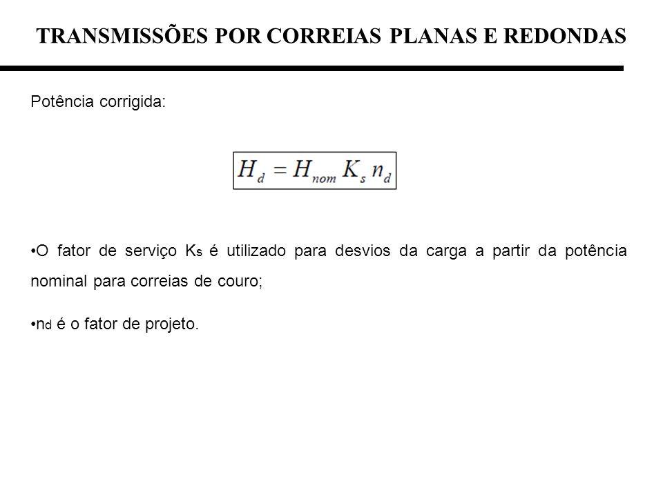 TRANSMISSÕES POR CORREIAS PLANAS E REDONDAS Potência corrigida: O fator de serviço K s é utilizado para desvios da carga a partir da potência nominal