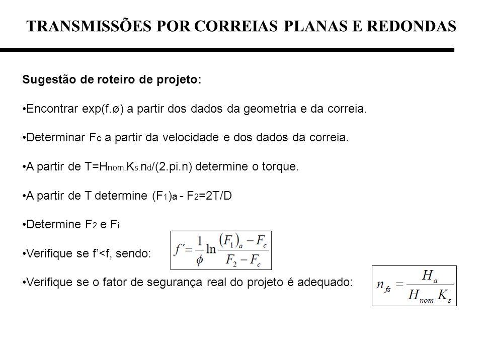 TRANSMISSÕES POR CORREIAS PLANAS E REDONDAS Sugestão de roteiro de projeto: Encontrar exp(f.ø) a partir dos dados da geometria e da correia. Determina