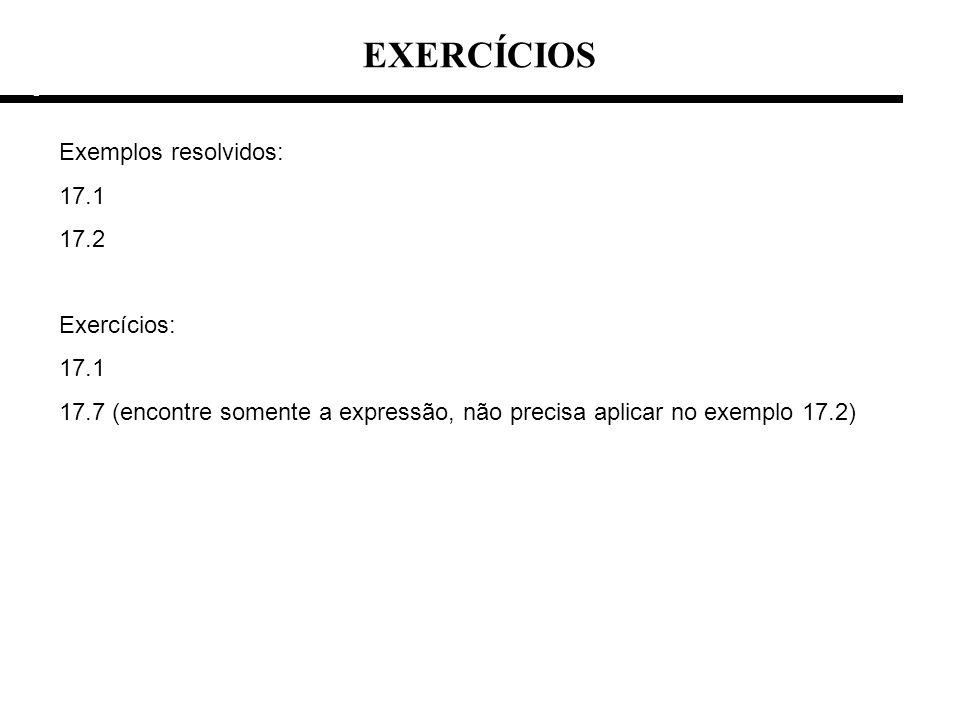 EXERCÍCIOS e e Exemplos resolvidos: 17.1 17.2 Exercícios: 17.1 17.7 (encontre somente a expressão, não precisa aplicar no exemplo 17.2)