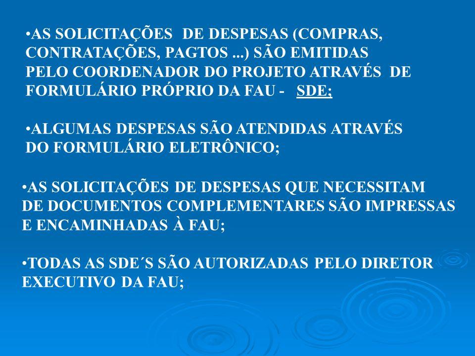 AS SOLICITAÇÕES DE DESPESAS (COMPRAS, CONTRATAÇÕES, PAGTOS...) SÃO EMITIDAS PELO COORDENADOR DO PROJETO ATRAVÉS DE FORMULÁRIO PRÓPRIO DA FAU - SDE; AL
