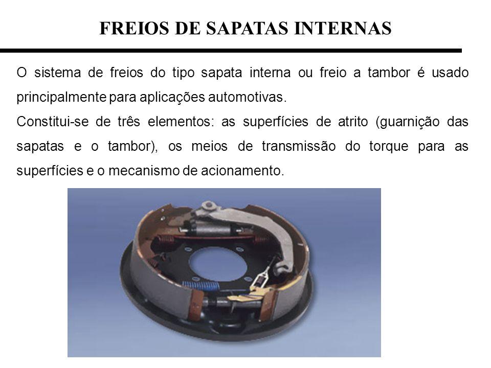 FREIOS DE SAPATAS INTERNAS O sistema de freios do tipo sapata interna ou freio a tambor é usado principalmente para aplicações automotivas.
