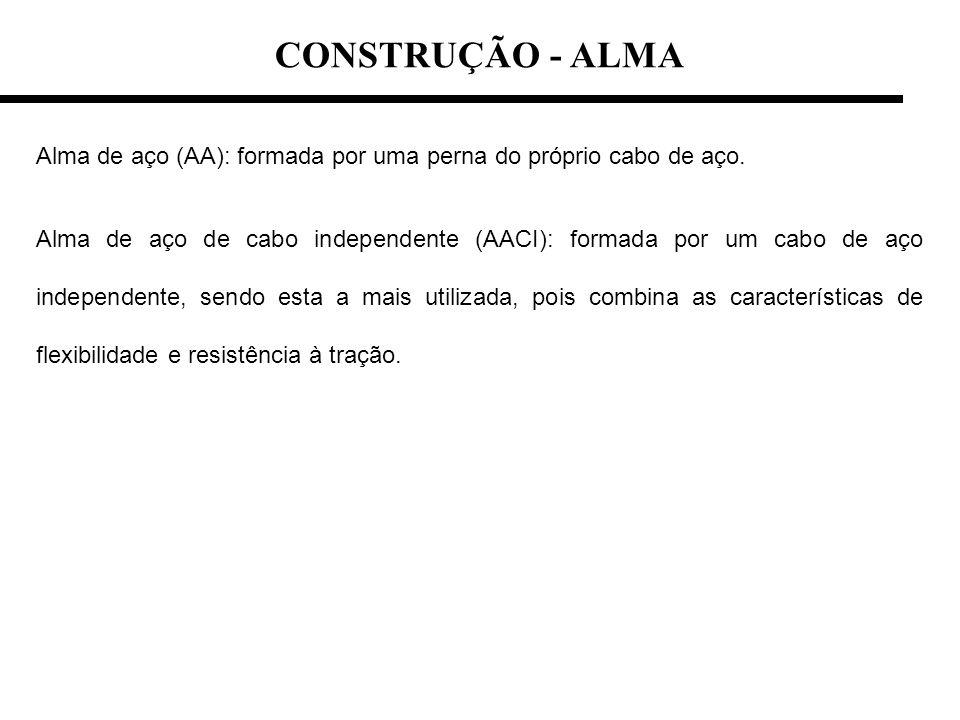 Alma de aço (AA): formada por uma perna do próprio cabo de aço. Alma de aço de cabo independente (AACI): formada por um cabo de aço independente, send