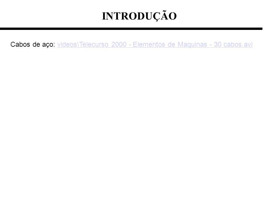 INTRODUÇÃO Cabos de aço: videos\Telecurso 2000 - Elementos de Maquinas - 30 cabos.avivideos\Telecurso 2000 - Elementos de Maquinas - 30 cabos.avi