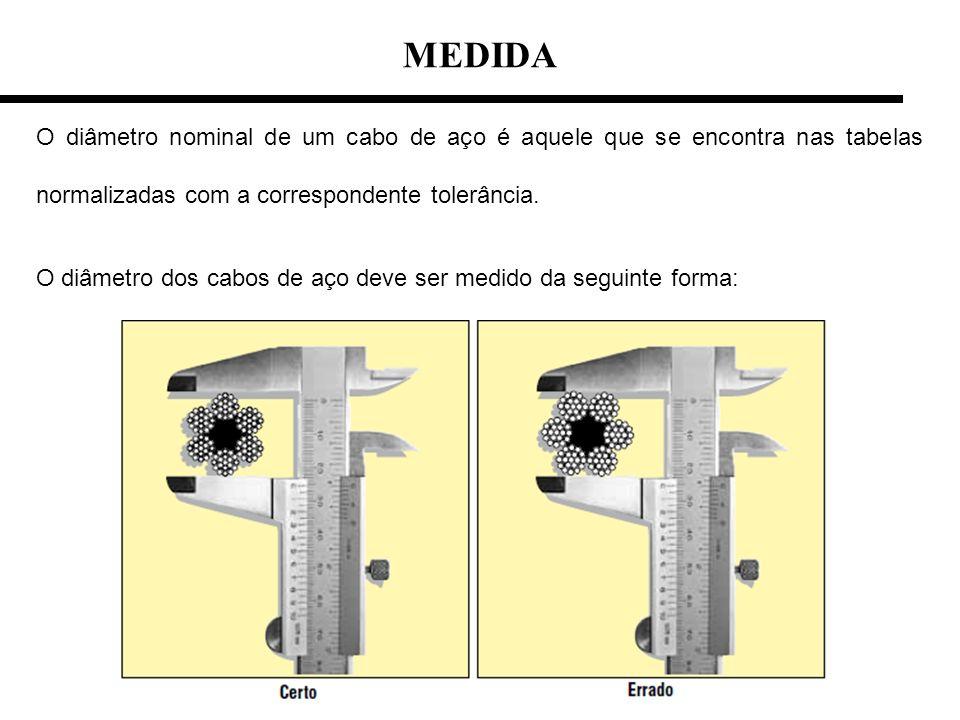 O diâmetro nominal de um cabo de aço é aquele que se encontra nas tabelas normalizadas com a correspondente tolerância. O diâmetro dos cabos de aço de