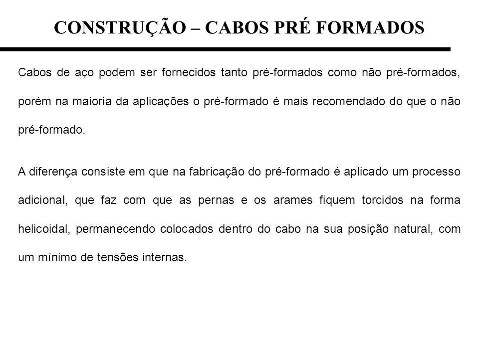 CONSTRUÇÃO – CABOS PRÉ FORMADOS Cabos de aço podem ser fornecidos tanto pré-formados como não pré-formados, porém na maioria da aplicações o pré-forma