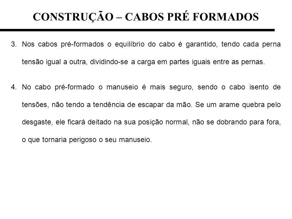 CONSTRUÇÃO – CABOS PRÉ FORMADOS 3.Nos cabos pré-formados o equilíbrio do cabo é garantido, tendo cada perna tensão igual a outra, dividindo-se a carga
