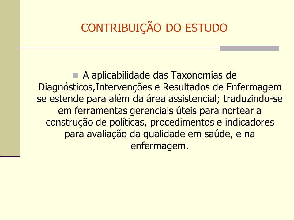 CONTRIBUIÇÃO DO ESTUDO A aplicabilidade das Taxonomias de Diagnósticos,Intervenções e Resultados de Enfermagem se estende para além da área assistenci