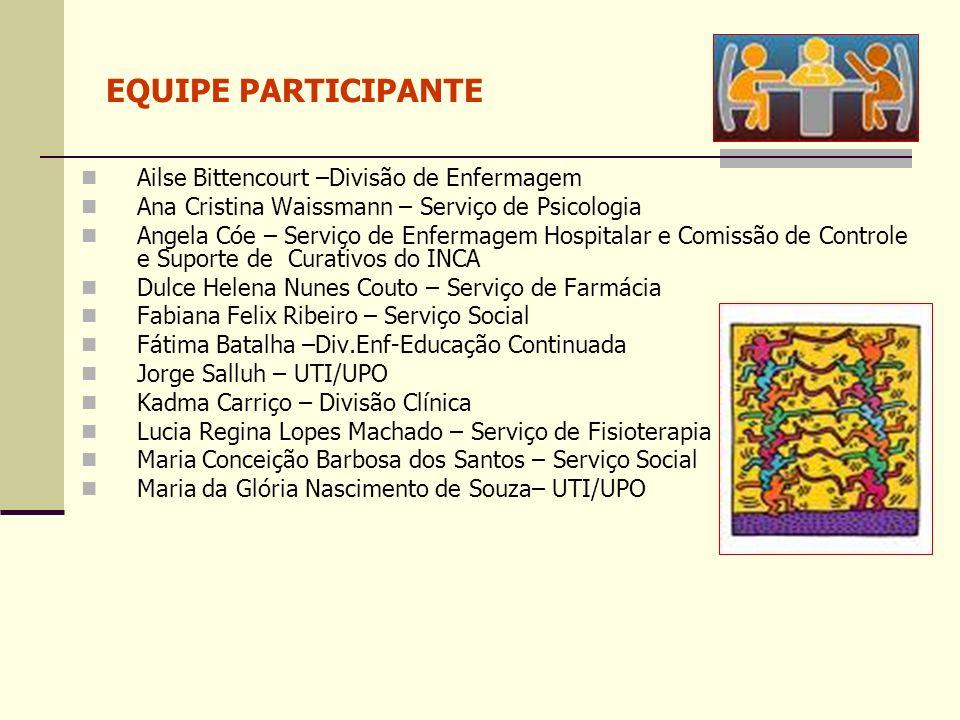 EQUIPE PARTICIPANTE Ailse Bittencourt –Divisão de Enfermagem Ana Cristina Waissmann – Serviço de Psicologia Angela Cóe – Serviço de Enfermagem Hospita
