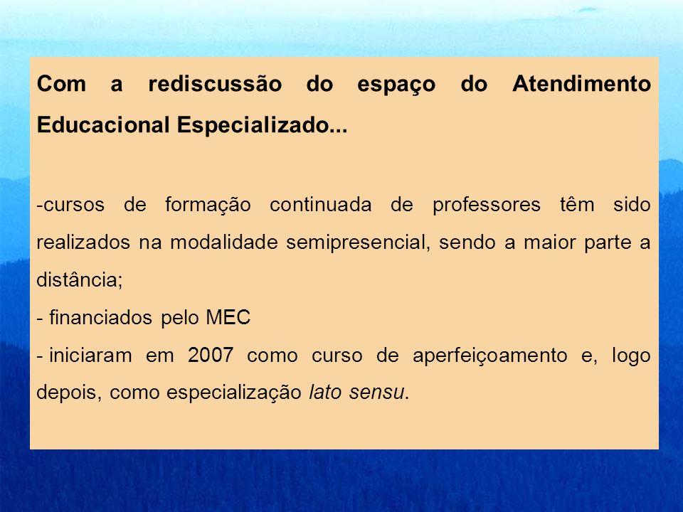 Com a rediscussão do espaço do Atendimento Educacional Especializado... -cursos de formação continuada de professores têm sido realizados na modalidad