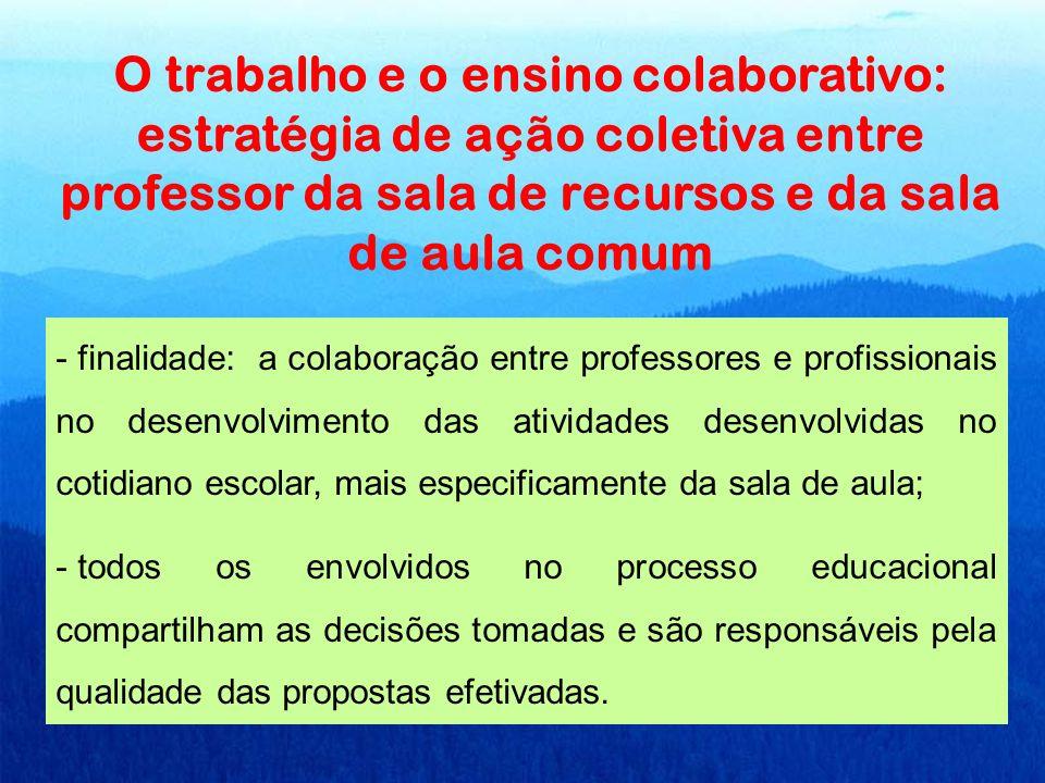 O trabalho e o ensino colaborativo: estratégia de ação coletiva entre professor da sala de recursos e da sala de aula comum - finalidade: a colaboraçã