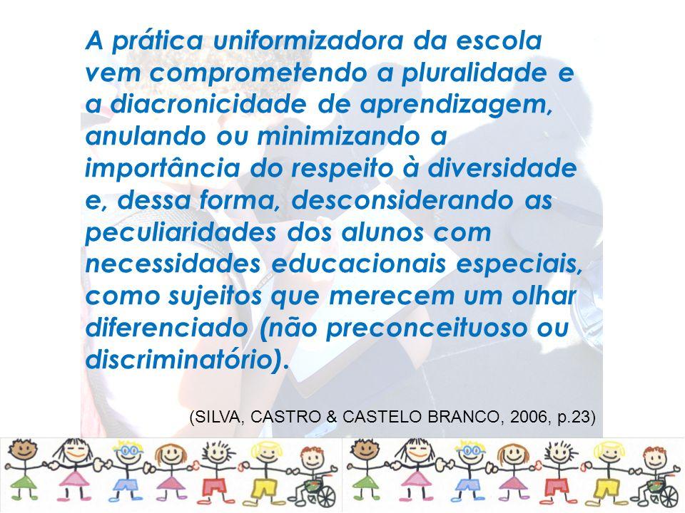 A prática uniformizadora da escola vem comprometendo a pluralidade e a diacronicidade de aprendizagem, anulando ou minimizando a importância do respei