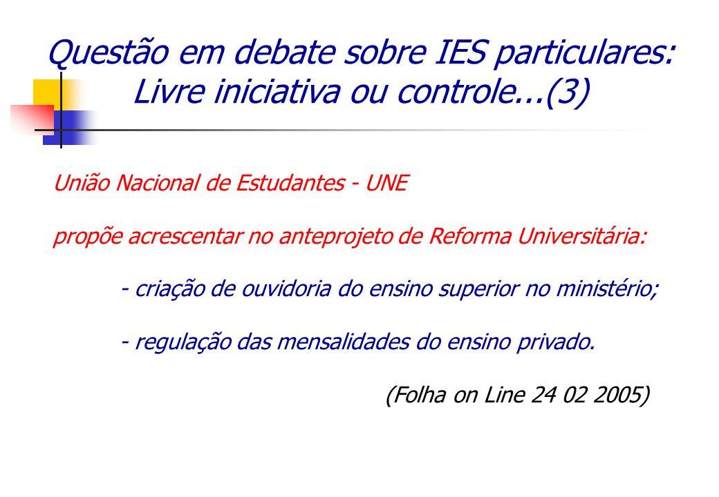 Questão em debate sobre IES particulares: Livre iniciativa ou controle...(3) União Nacional de Estudantes - UNE propõe acrescentar no anteprojeto de R