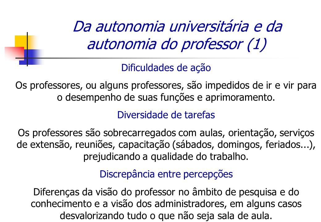 Da autonomia universitária e da autonomia do professor (1) Dificuldades de ação Os professores, ou alguns professores, são impedidos de ir e vir para