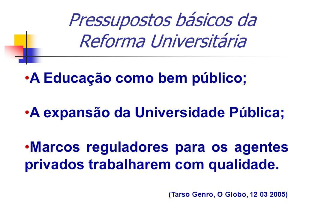 A Educação como bem público; A expansão da Universidade Pública; Marcos reguladores para os agentes privados trabalharem com qualidade. (Tarso Genro,