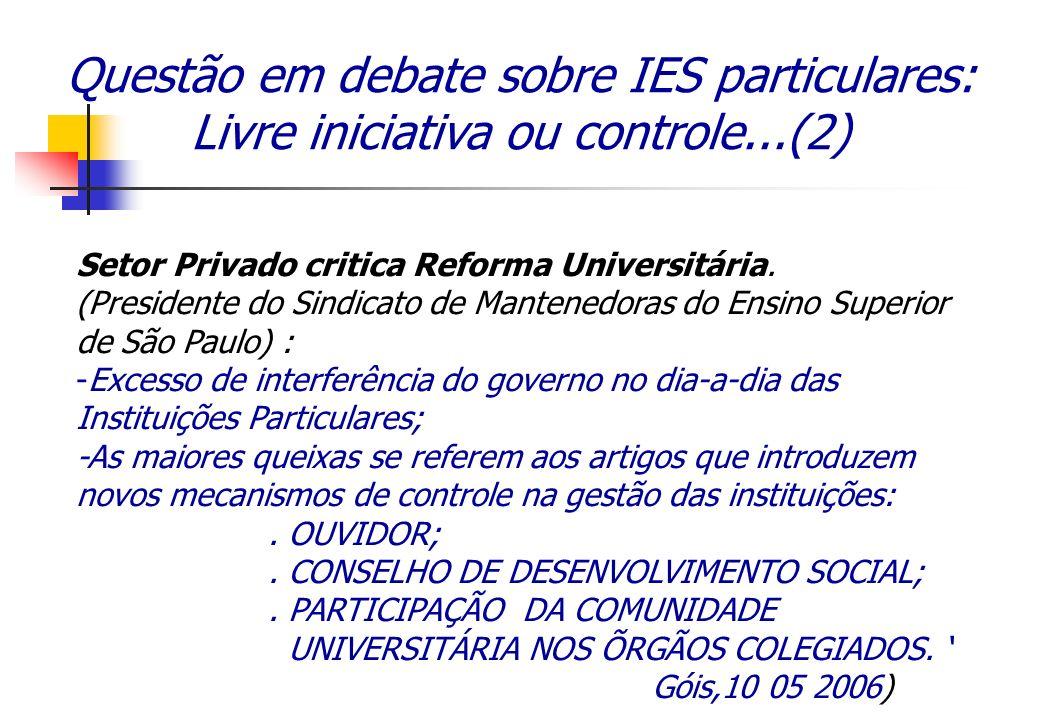 Questão em debate sobre IES particulares: Livre iniciativa ou controle...(2) Setor Privado critica Reforma Universitária. (Presidente do Sindicato de