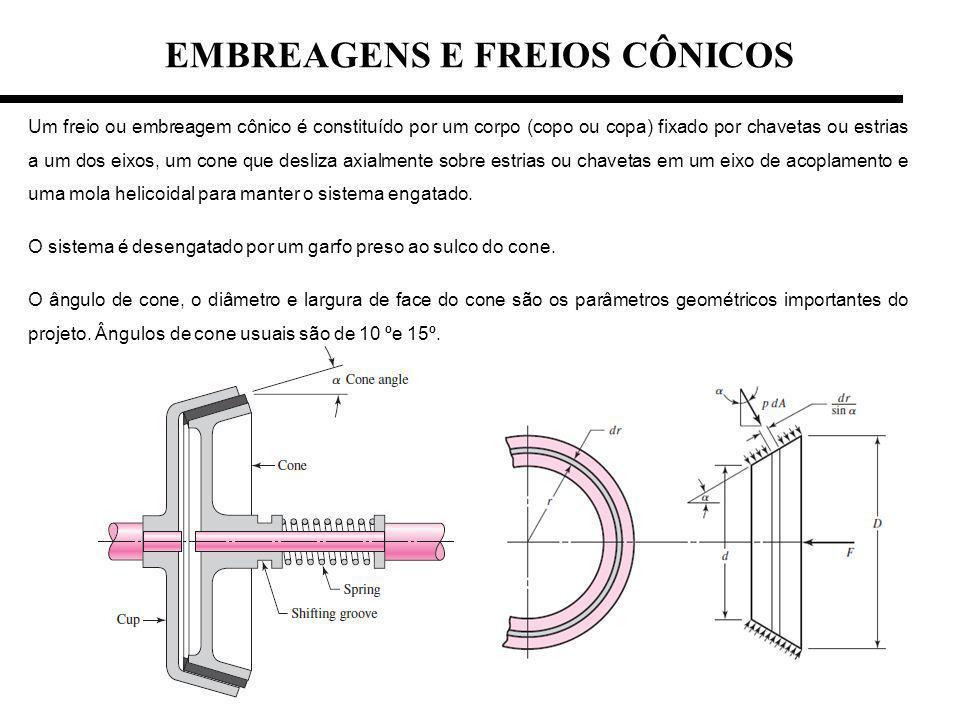 EMBREAGENS E FREIOS CÔNICOS Um freio ou embreagem cônico é constituído por um corpo (copo ou copa) fixado por chavetas ou estrias a um dos eixos, um c