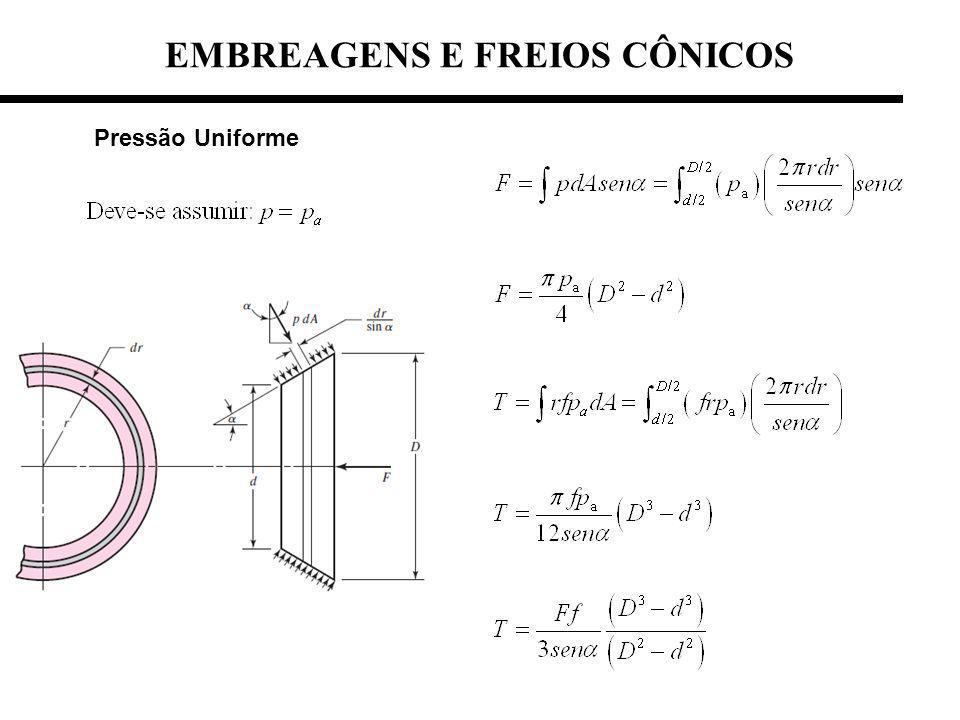 EMBREAGENS E FREIOS CÔNICOS Pressão Uniforme
