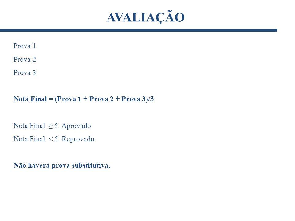 Prova 1 Prova 2 Prova 3 Nota Final = (Prova 1 + Prova 2 + Prova 3)/3 Nota Final 5 Aprovado Nota Final < 5 Reprovado Não haverá prova substitutiva. AVA