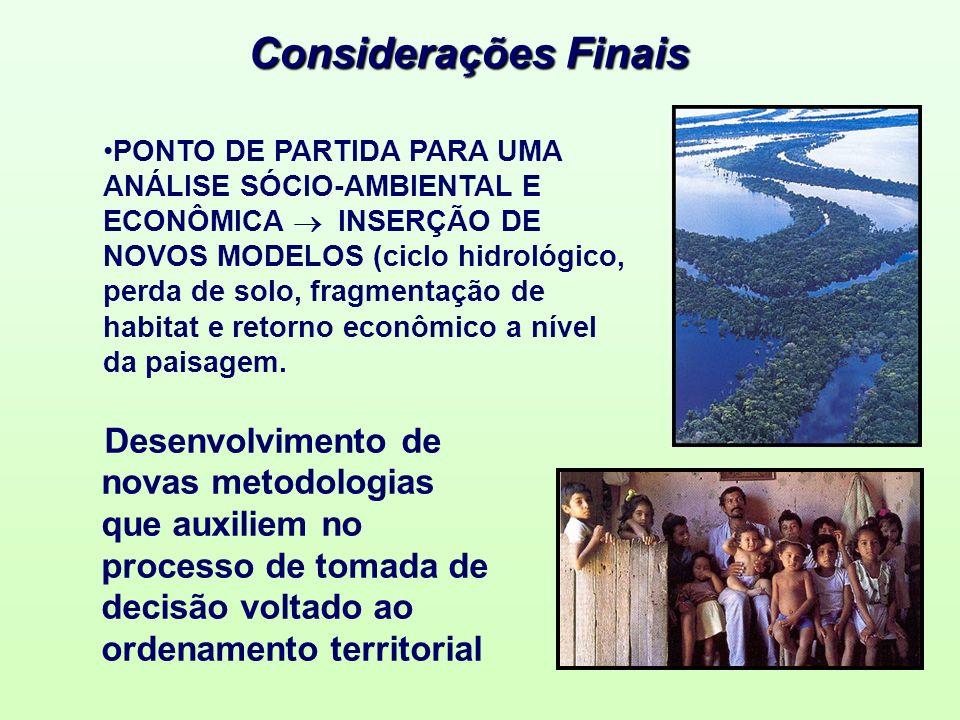 Considerações Finais PONTO DE PARTIDA PARA UMA ANÁLISE SÓCIO-AMBIENTAL E ECONÔMICA INSERÇÃO DE NOVOS MODELOS (ciclo hidrológico, perda de solo, fragme