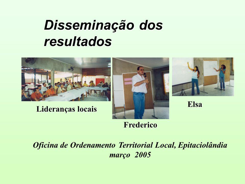 Disseminação dos resultados Frederico Elsa Oficina de Ordenamento Territorial Local, Epitaciolândia março 2005 Lideranças locais