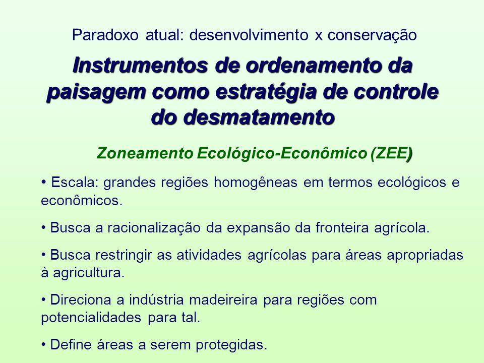 Instrumentos de ordenamento da paisagem como estratégia de controle do desmatamento ) Zoneamento Ecológico-Econômico (ZEE) Escala: grandes regiões homogêneas em termos ecológicos e econômicos.