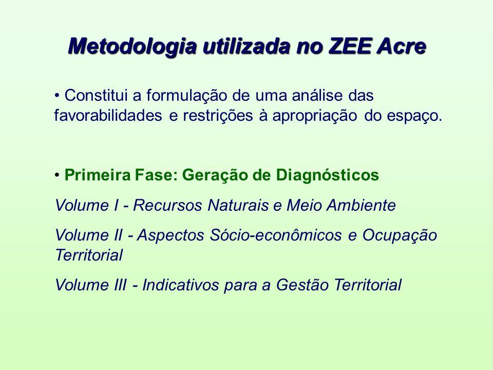 Metodologia utilizada no ZEE Acre Constitui a formulação de uma análise das favorabilidades e restrições à apropriação do espaço. Primeira Fase: Geraç