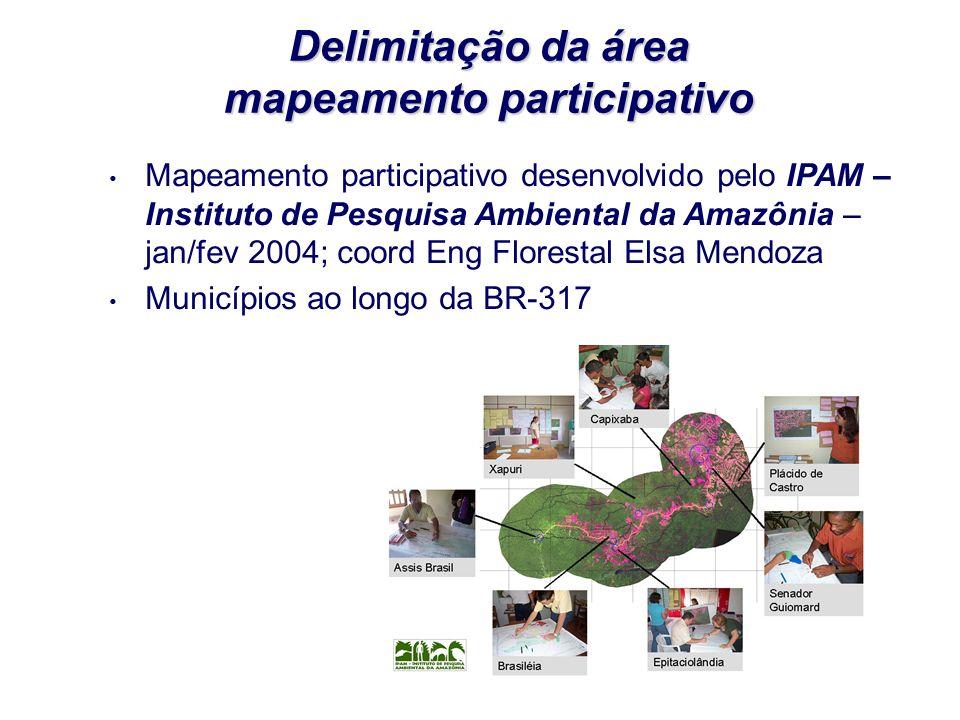 Delimitação da área mapeamento participativo Mapeamento participativo desenvolvido pelo IPAM – Instituto de Pesquisa Ambiental da Amazônia – jan/fev 2004; coord Eng Florestal Elsa Mendoza Municípios ao longo da BR-317