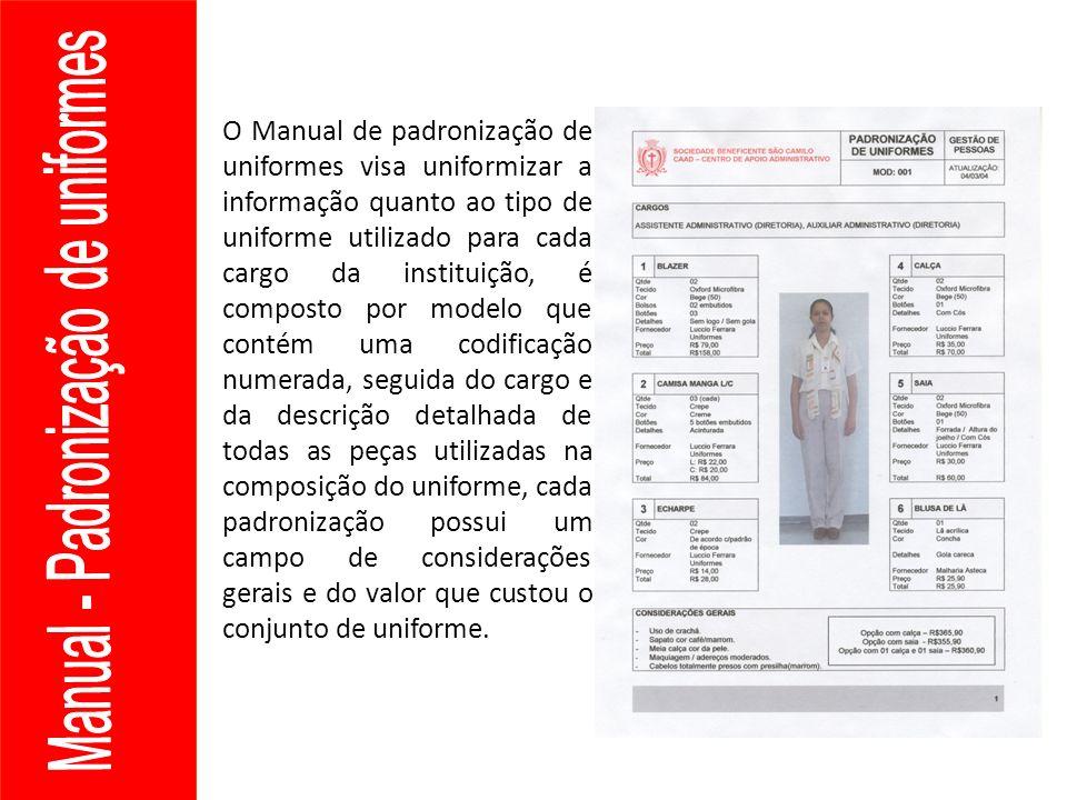 O Manual de padronização de uniformes visa uniformizar a informação quanto ao tipo de uniforme utilizado para cada cargo da instituição, é composto po