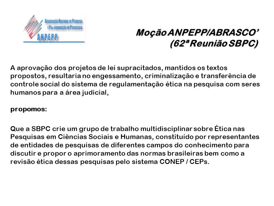 Moção ANPEPP/ABRASCO (62ª Reunião SBPC) A aprovação dos projetos de lei supracitados, mantidos os textos propostos, resultaria no engessamento, crimin