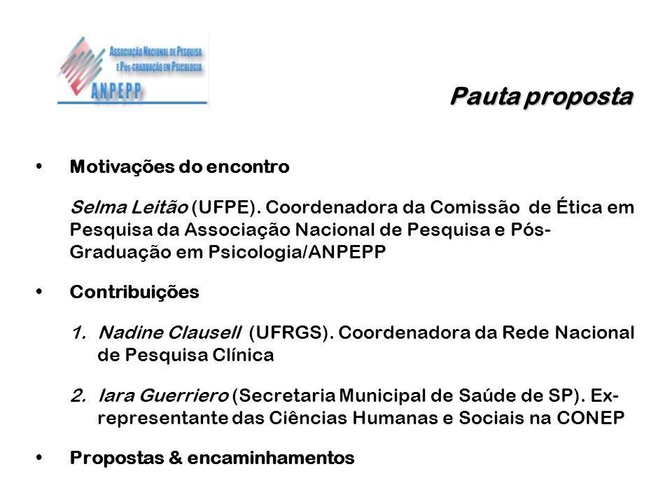 Pauta proposta Pauta proposta Motivações do encontro Selma Leitão (UFPE). Coordenadora da Comissão de Ética em Pesquisa da Associação Nacional de Pesq