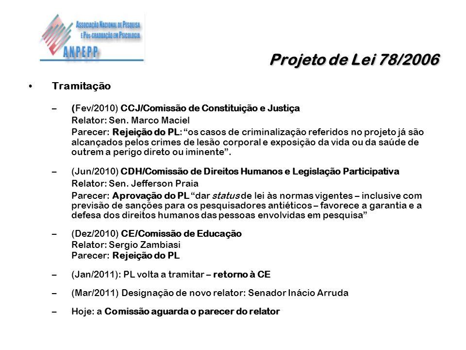 Projeto de Lei 78/2006 Projeto de Lei 78/2006 Tramitação –(Fev/2010) CCJ/Comissão de Constituição e Justiça Relator: Sen. Marco Maciel Rejeição do PL